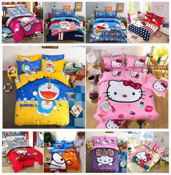 Bộ đồ giường Bộ Phim Hoạt Hình Hello Kitty mèo Doraemon 4 cái/3 cái Bộ Vỏ Chăn Mềm Polyester Khăn Trải Giường Phẳng tấm Ga trải giường Bộ Áo Gối