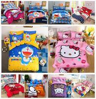 Bedding Set Cartoon Hello Kit cat Doraemon 4pcs/3pcs Duvet Cover Sets Soft Polyester Bed Linen Flat Bed Sheet Set Pillowcase