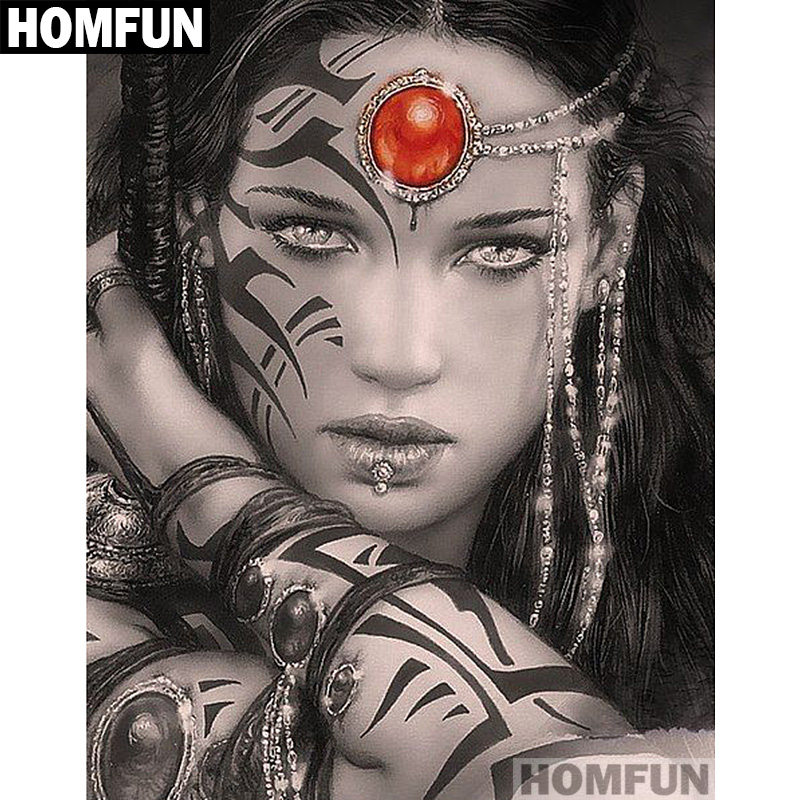 HOMFUN Full Square/Round Drill 5D DIY Diamond Painting Cool Girl Warrior Embroidery Cross Stitch Mosaic Home Decor Gift A01146