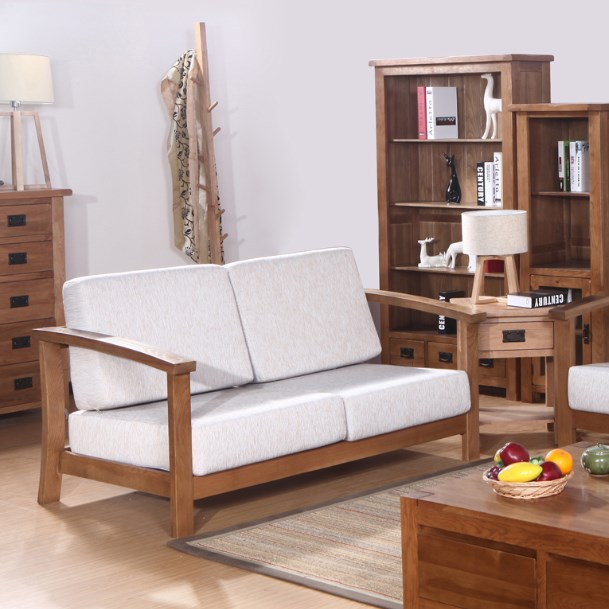 European Wood Sofa Couch Living Room Furniture Simple And Stylish North  American Oak Curved Retro Sofa