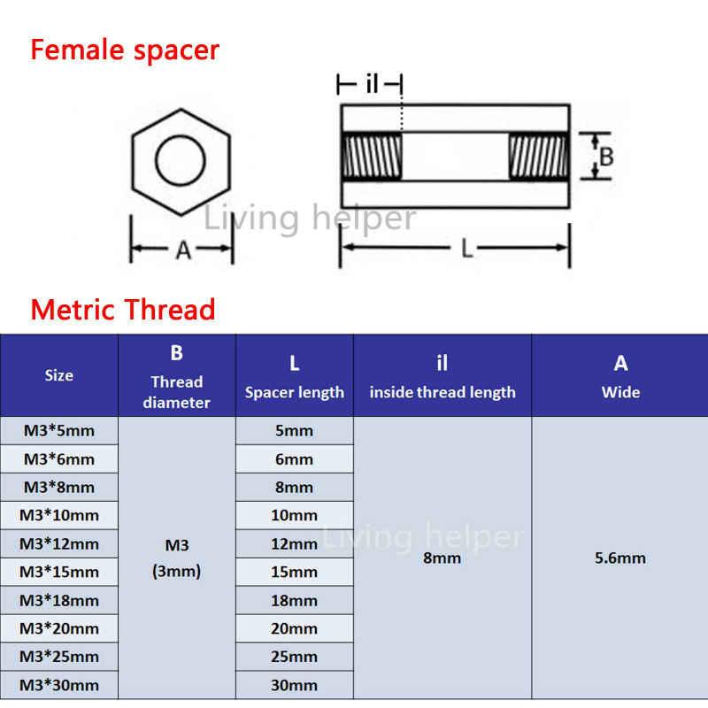 50ピース黒いプラスチックナイロンスタンドオフm3 3ミリメートルM3x5/10/20/25/30 + 6ミリメートル六角柱サポート男性の女性女性スペーサーフィリップスヘッドネジ