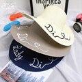 Письма вышитые шляпы Большой наполнянный до краев шляпа солнца Летом пляж шляпа для Женщин складной cap