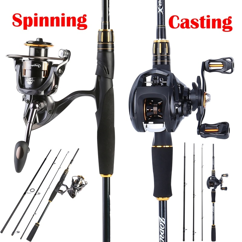 Fishing Rod and Reel Combo Powerful 2 1M Casting Fishing Pole with Smooth Spinning Baitcasting Fishing