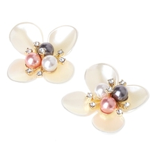 KLV 1 Couple Charge free lady color flower shoe Rhinestone buckle crystal decorations  clips shoe charms 6b926387d9e8