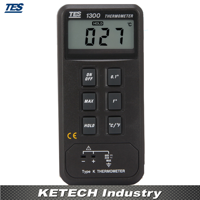 Single Input Digital Thermometer Temperature Reader Sensor 50 to + 1300 Celsius TES 1300