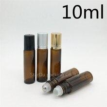 10 unids/lote 10ml ámbar roll on perfume bottle, 10ml ámbar aceite esencial rollon bottle, pequeño contenedor de rodillo de vidrio