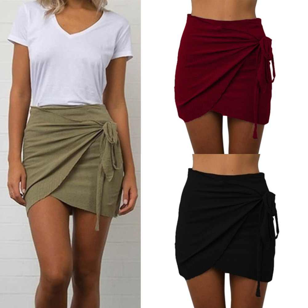 Women's Skirt Summer Skirts Womens Fashion Jupe Femme Casual Solid Color Waist Short Beach Mini Sexy Skirt Shorts Skirts 2019