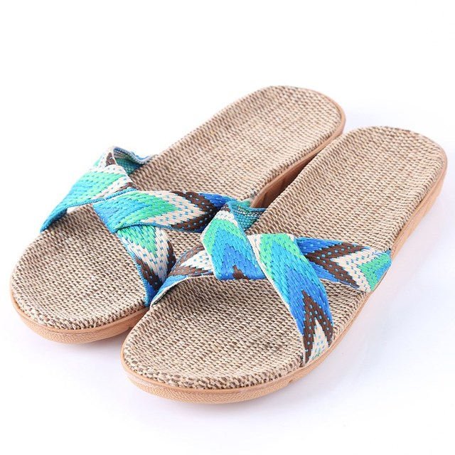 New  Fashion Flax Home Slippers Indoor Floor Shoes Cross Belt Silent Sweat Slippers For  Women Sandals 1