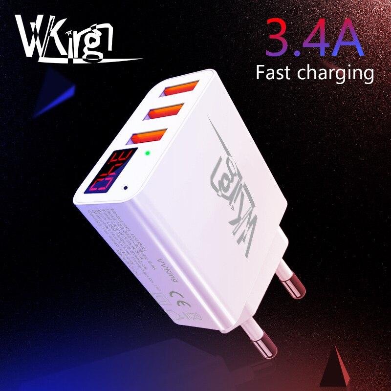 Cargador USB VVKing 3.4A pantalla LED de carga rápida inteligente EU/US 3 puertos USB para iPhone Samsung Xiaomi Huawei cargador de pared de viaje