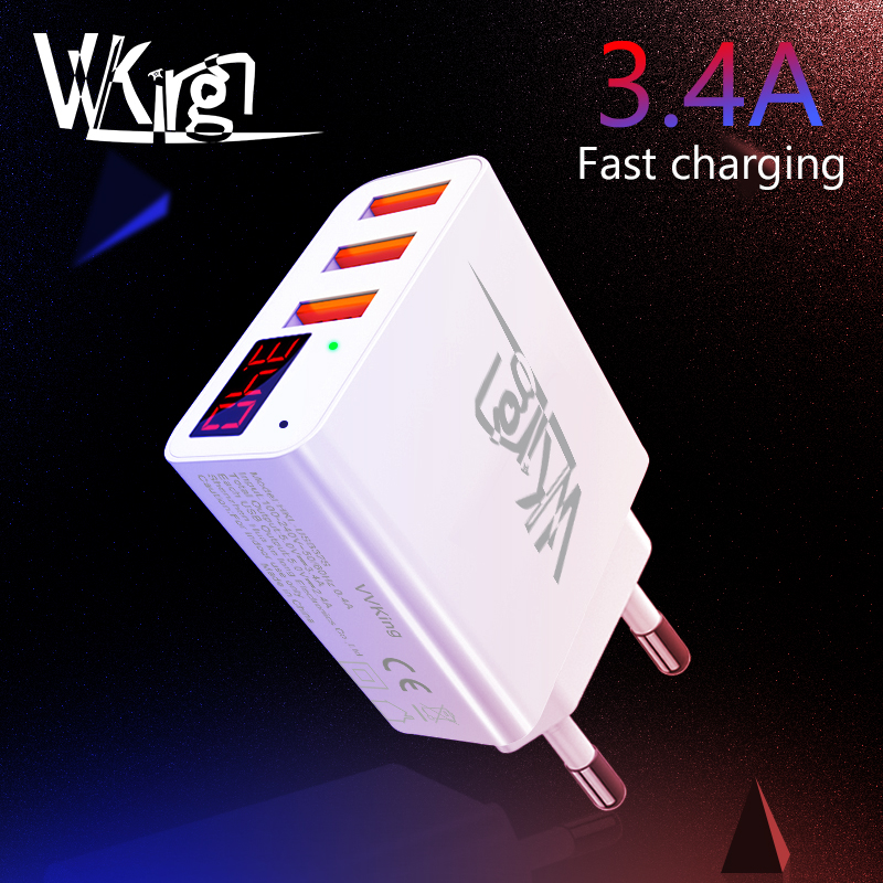 VVKing USB Charger 3.4A Smart Fast Charging LED Display EU/US 3 Ports USB For iPhone Samsung Xiaomi Huawei Travel Wall Charger