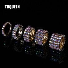 da884d809799 TDQUEEN 1-5 filas AB anillos de cristal Metal de Color dorado Boda nupcial  diamantes de imitación elástico AB anillos de piedra .