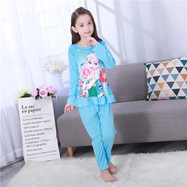 Disney Congelado Crianças Sleepwear Crianças Conjunto de Roupas de Bebê Dos Desenhos Animados Manga Longa Roupas Em Casa para meninas