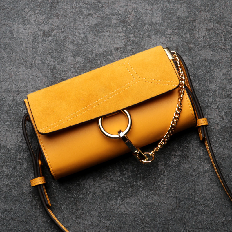 New Vintage Nubuck Leather Flap Ladies Shoulder Bag High Quality Women Messenger Bag Ring Chains Women Crossbody Bag new chains flap women shoulder bags small handbags vintage ring crossbody bag for woman suede leather ladies casual clutch purse