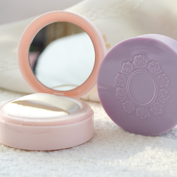 1pcs empty loose powder jar with sifter mirror Cosmetic plastic powder compact Clamshell Makeup case Travel subpackage Box bob cosmetic makeup powder w puff mirror ivory white 02