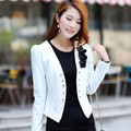 Весна лето длинный рукав цветы куртка женщины жира белый приталенный кардиган короткая L-5XL Casaco черный пальто YB146