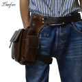 High quality genuine leather Waist Bag Men's Real leather holster Bag iPad mini cowhide waist fanny pack drop leg bag for casual
