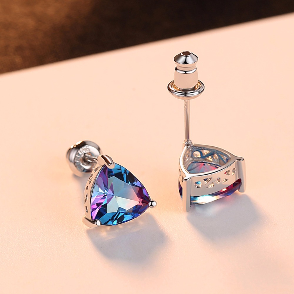 CZCITY Mewah Rainbow Topaz Stud Earrings Nyata 100% 925 Sterling - Perhiasan bagus - Foto 4