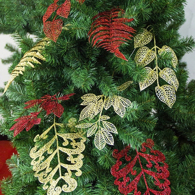 New Arrival Glitter Christmas Tree Decorations Cuttings Leaves