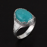 CMAJOR Original 925 Sterling Silver Vintage Filigree Aquamarine Rings Women Handmade Designer Fine Jewelry Wholesale