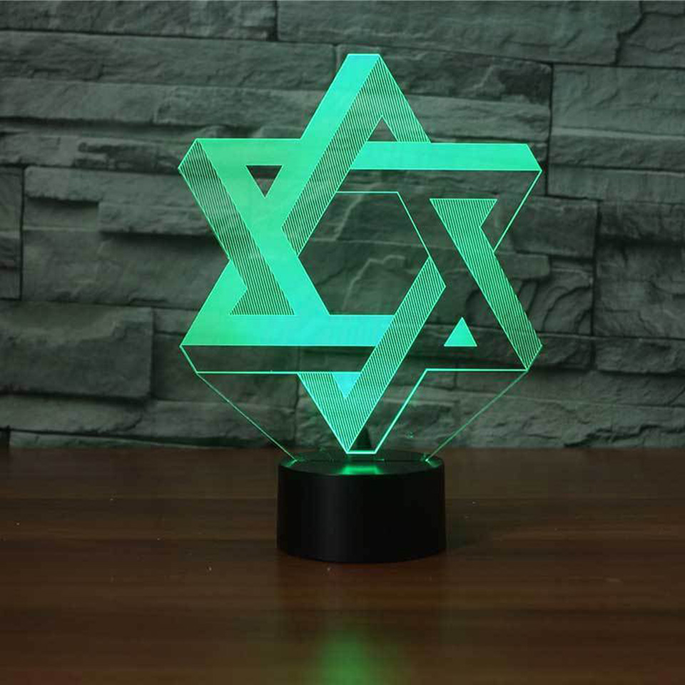 3D Star Of David Modelling NightLight LED 7 Colors Mood Table Lamp USB Bedroom Bedside Sleep Light Fixture Home Decor Kids Gifts 3d luminous ice hockey player shape led table lamp 7 colors changing home living room decor light fixture baby sleep night light