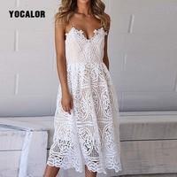 Summer White Lace Elegant Dress Women Hollow Out V Neck Sexy Dress Sundress Vestidos Mujer Female
