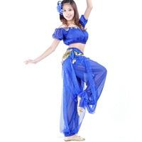 New Belly Dance Costume 2Pcs Lantern Blouse Bra Top Pants 13 Colors