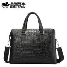 BISON DENIM Brand Handbag Men Genuine Leather Shoulder Bag Business Tote Bag Cowhide Briefcase Men's Messenger Bag Free Shipping