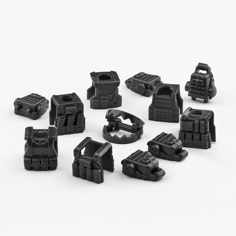 MOC Armor Tactical Vest Breastplate Weapons Brinquedos Compatible Playmobil Military Mini Figures Building Block Original Toys