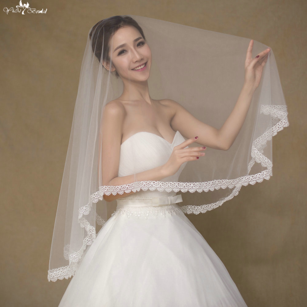 LZP Love Edge Wedding Veil Short Simple Wedding Veils