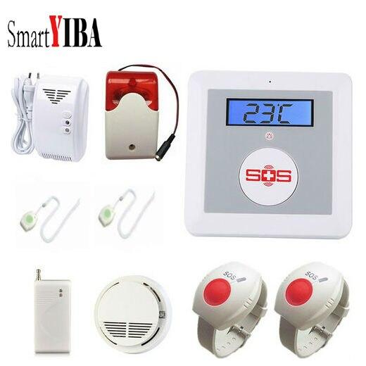 SmartYIBA Wireless GSM SMS Alarm System Senior Elderly Healthcare Panel Emergency SOS Neck Wrist Panic Button APP Remote Control