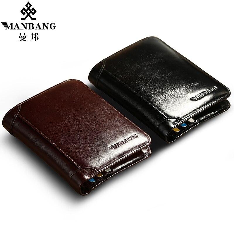 ManBang estilo clásico Cartera de cuero genuino de los hombres carteras corto hombre monedero tarjeta titular de la cartera de los hombres de moda de alta calidad