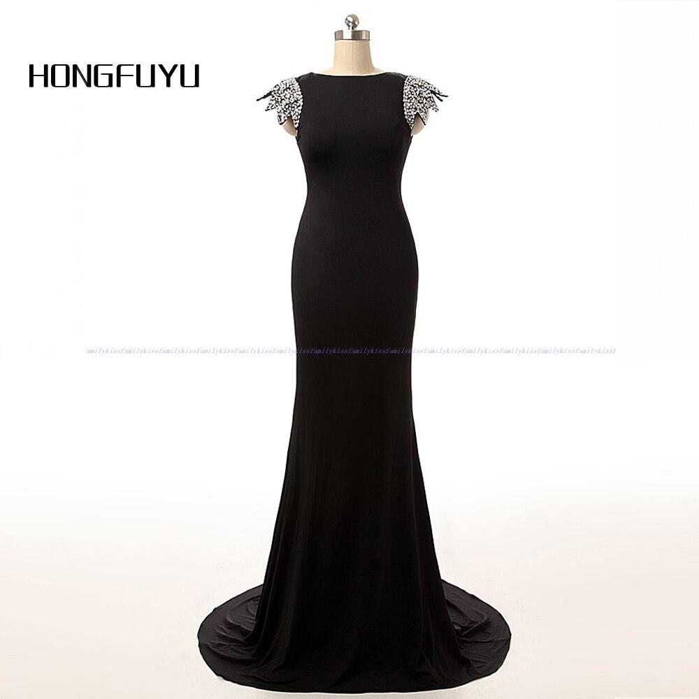 2018 Black Chiffon Scoop Cap Sleeve Backless Beads Long Evening Dress Floor Length Formal Evening Party Gowns Vestido De Festa