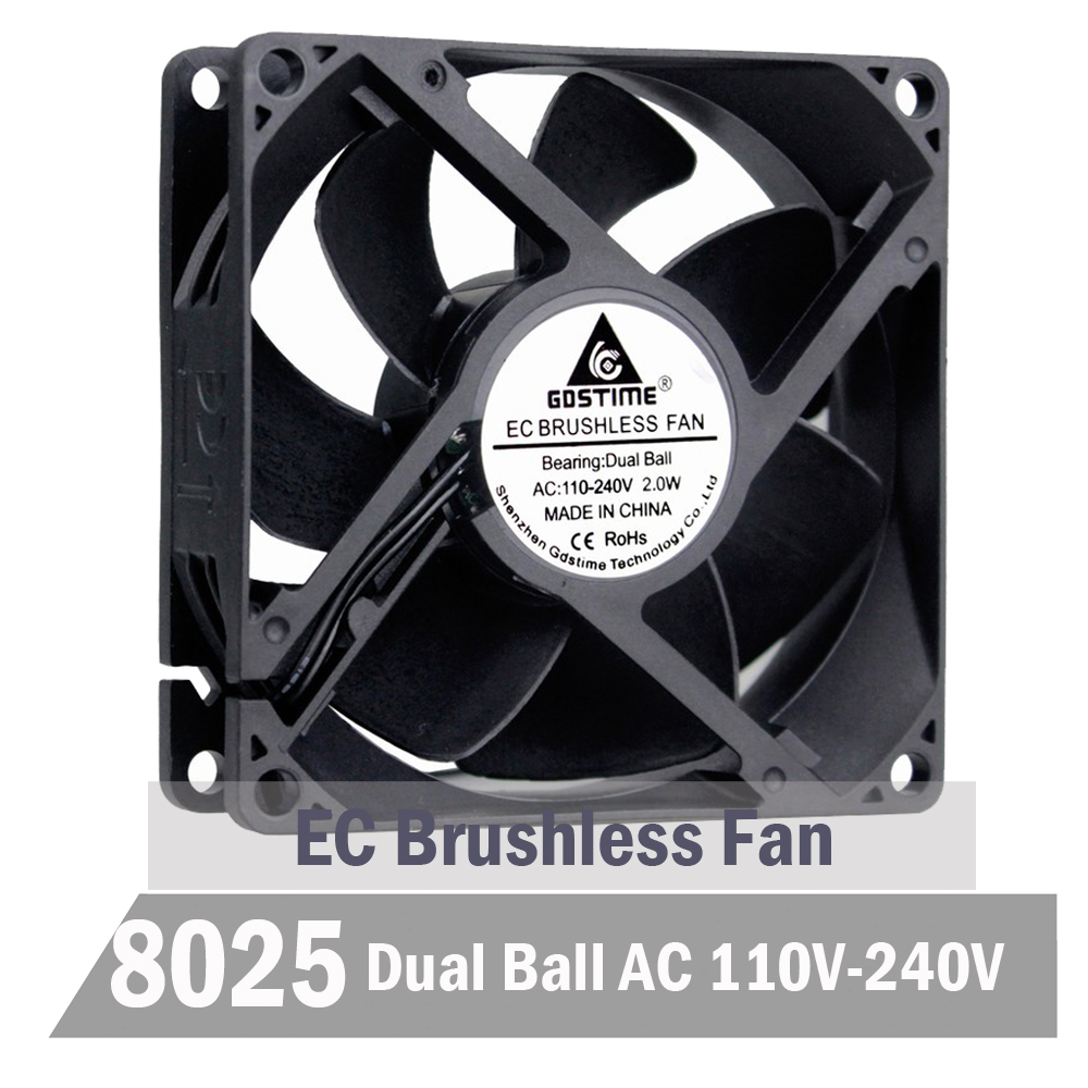 50 pieces 80mm 8cm AC 110V 115V 120V 220V 240V Cooling Fan 80mmx25mm EC Brushless Cooling