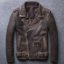 AYUSUE Men s Geniune Leather Jackets For Men Pure Cow Leather Jacket Vintage Spring Autumn Motocycle
