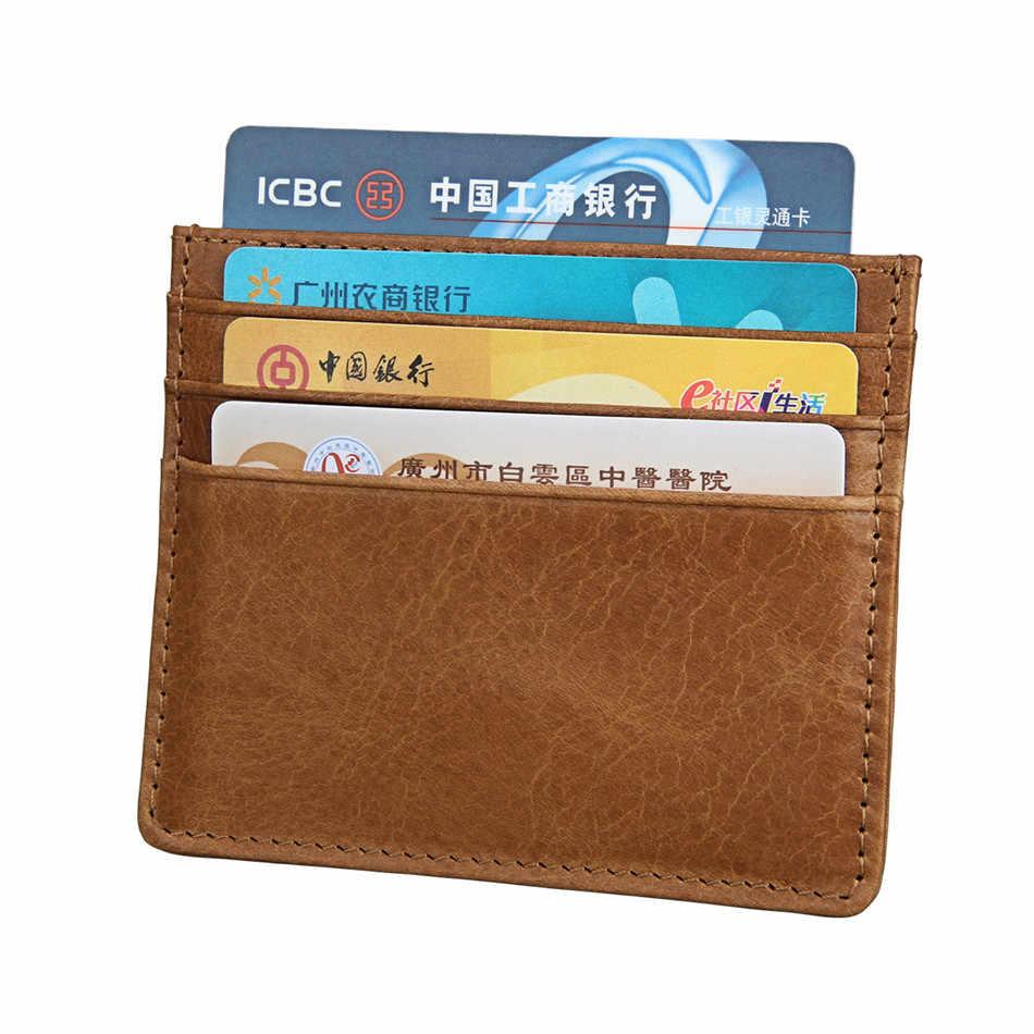 b698a264761b1 ... 2019 RFID Blocking Genuine Cow Leather Mini Credit Card Wallet Purse  Super Slim Soft Wallet ID ...