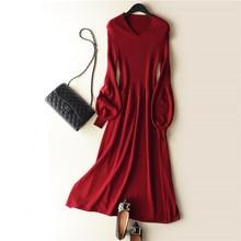 Женское трикотажное кашемировое шерстяное платье свитер, однотонное длинное трикотажное платье с V образным вырезом и рукавами фонариками, весна осень 2019