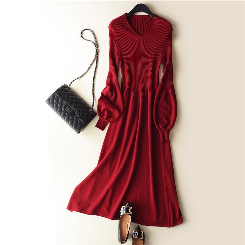 2018 spring Latest style Women's Knitted Cashmere Wool Dress Long style Solid...