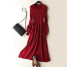 2019 אביב סתיו האחרון סגנון נשים של סרוג קשמיר צמר סוודר שמלה ארוך סגנון מוצק צבע V פנס צווארון שרוול