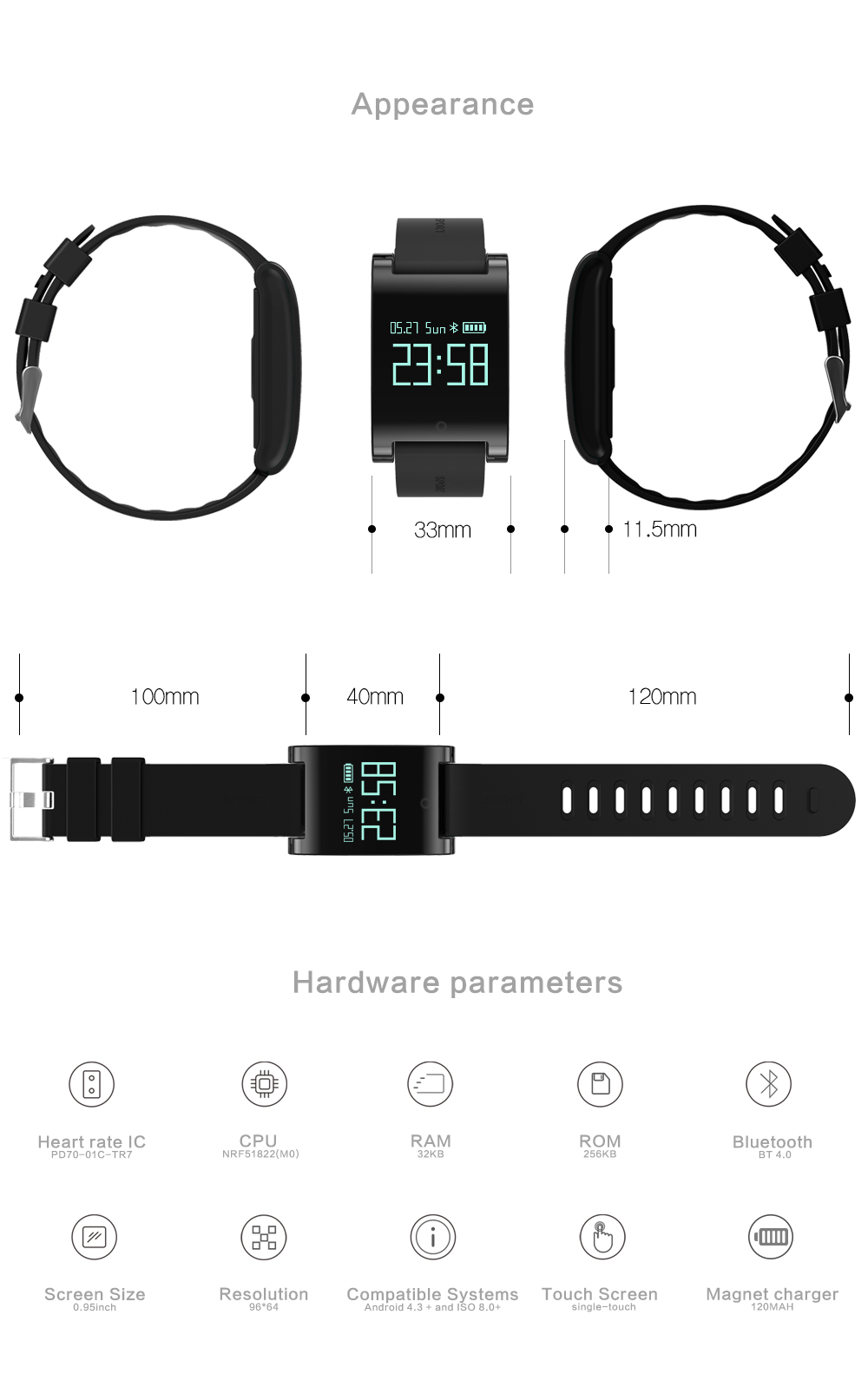 HUINIU DM68 Smart Bracelet Band Pedometer Distance Analysis Fitness Tracker Heart Rate Tracker Blood Pressure For iPhone Android 15