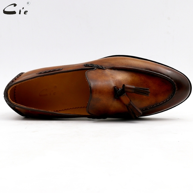 Round Toe, Pure Genuine Leather, Blake Stitch, Handmade Patina Brown Tassels Slip-on Men's Shoes