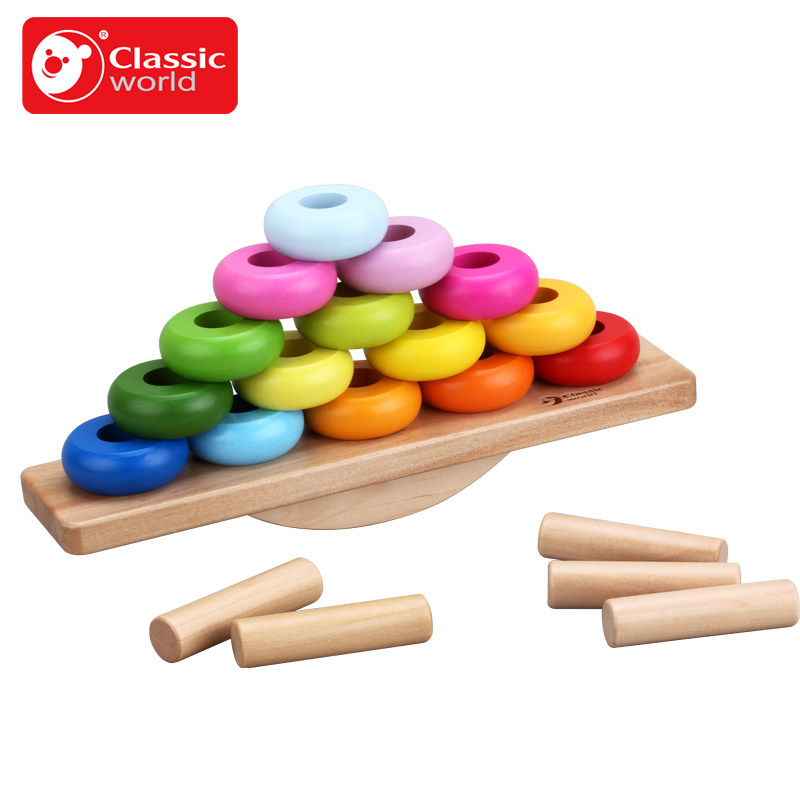 Classic World Kids Baby Early Training Educational Hemisphere Balance Stacking Game Wooden Toy gift for Child montessori educational wooden toy scale funny toy wooden balance game baby early developme learning blocks