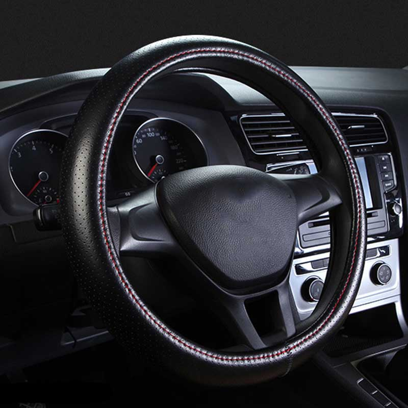 Genuine Leather Steering Wheel Cover Breathable Hole Auto Steering-Wheel Covers For Auto Car Interior Accessories 38CM