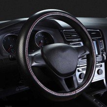 Four Season Genuine Leather Steering Wheel Cover Breathable Hole Car Auto 36cm/38cm/40cm