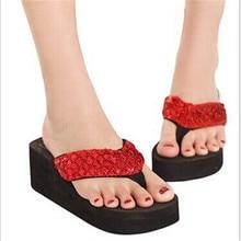 fashion women sandals Sandalias Mujer Women Sequins Sandals Beach Slippers Shoes Summer Sandals Flip Flops Lady Wedges Shoes