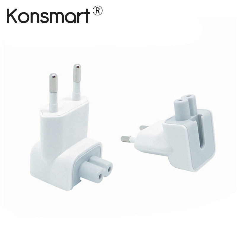 KONSMART Wall Plug Duckhead AC Power Adapter Untuk Apple iPad iPhone 7 8 Plus Pengecas MacBook Air European Adapter Standard Socket