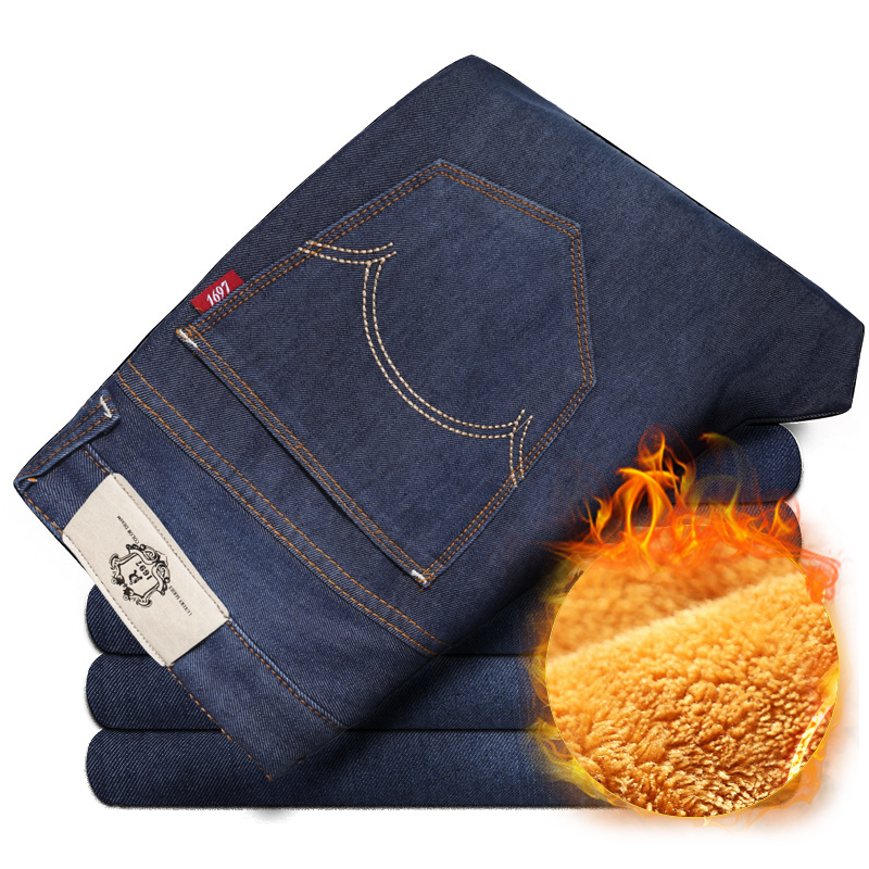 2017 Men's Winter Stretch Thicken Jeans with Warm Fleece High Quality Denim Jean Pants Trousers  Size 28- 42 new arrival winter fleece warm jeans high quality men blue denim plus size pants thicken jean slim trousers 100607