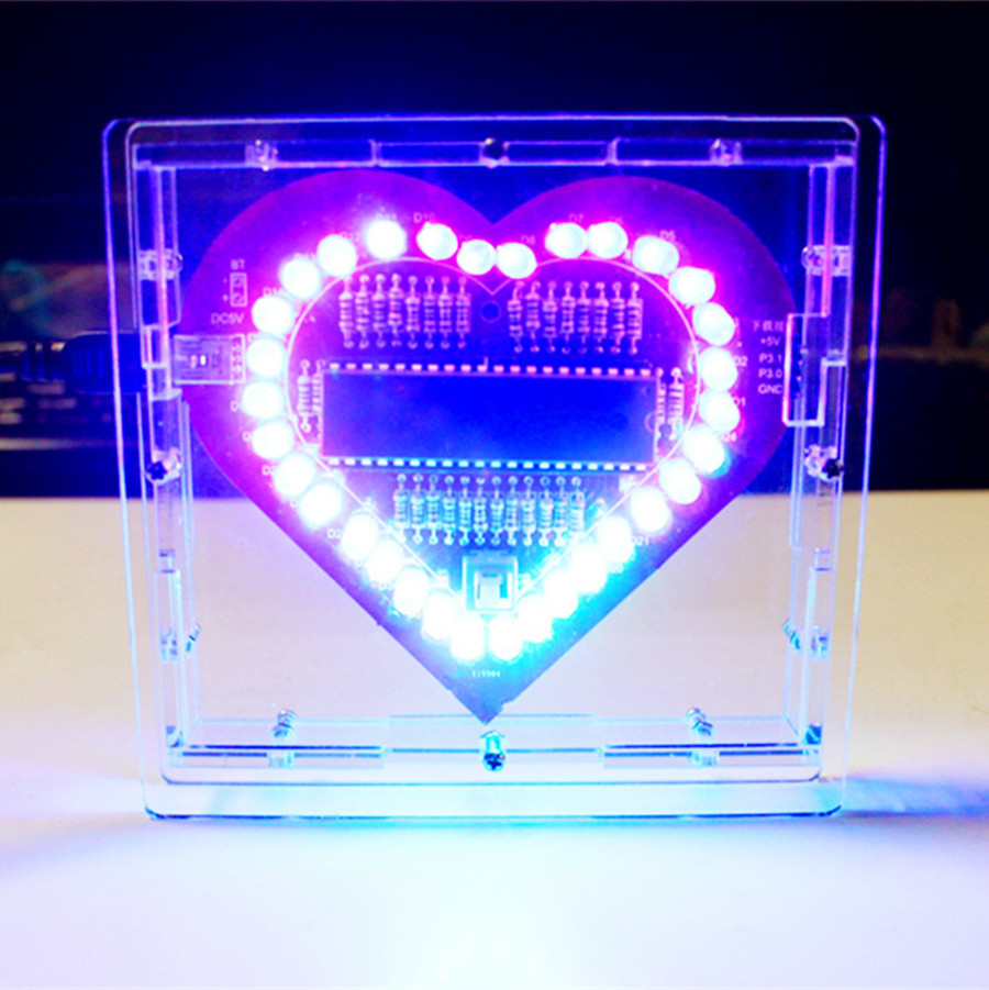 Colorful glare 51 MCU heart-shaped light water LED lamp lights love electronic DIY production suite send program glare 30