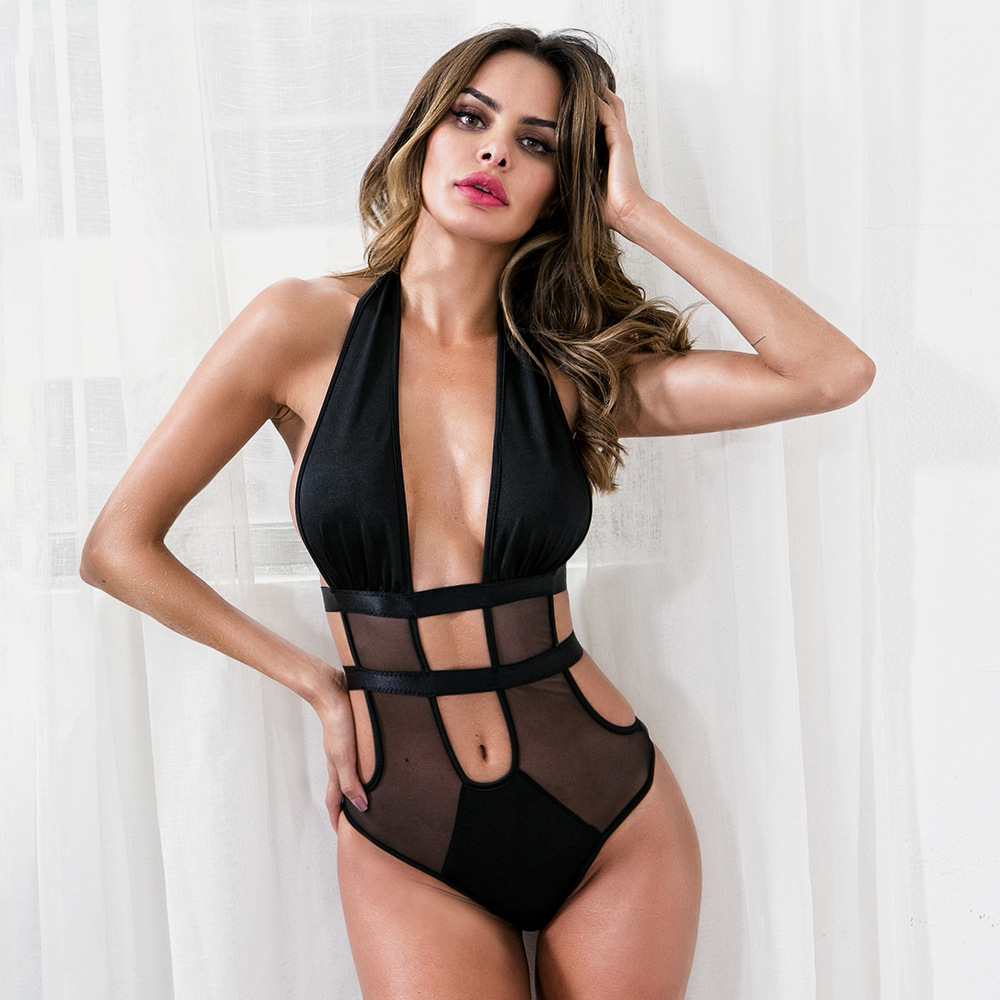 Honesty Sexy Bodysuit Mesh Bodysuit Women Black/white Mesh Patchwork Skinny Backless Bodysuit Jumpsuit Overall Structural Disabilities Bodysuits