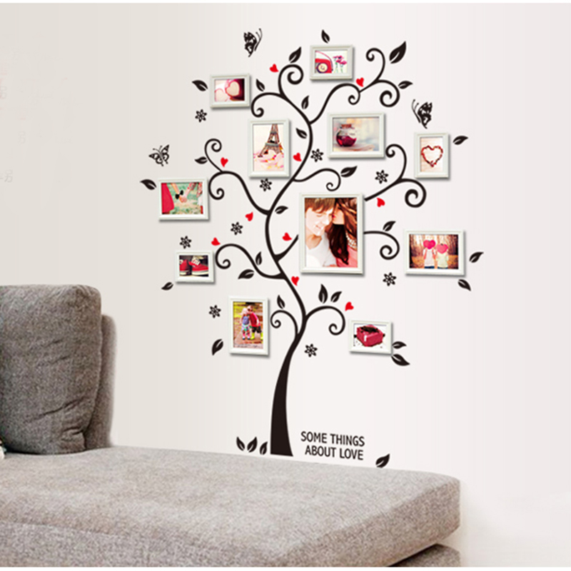 Photo Frame Tree Waterproof Removable Wall Sticker Decal <font><b>Simple</b></font> Art Decorative Living Room <font><b>Home</b></font> <font><b>Decor</b></font>