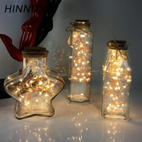 Hinnixy Glass Bottle Night Light Warm White Atmosphere Luminaria Bedside Table Lamp Star Point Bottle Home Decor Light Fixtures
